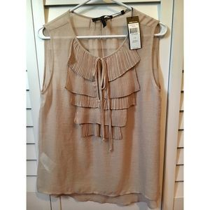 BCBG Sleeveless NWT ruffles, very light flowy top